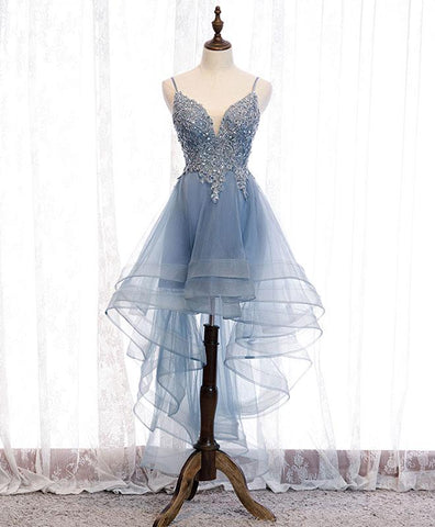 Cute Blue Sweetheart Tulle Lace High Low Prom Dress, Blue Homecoming Dress