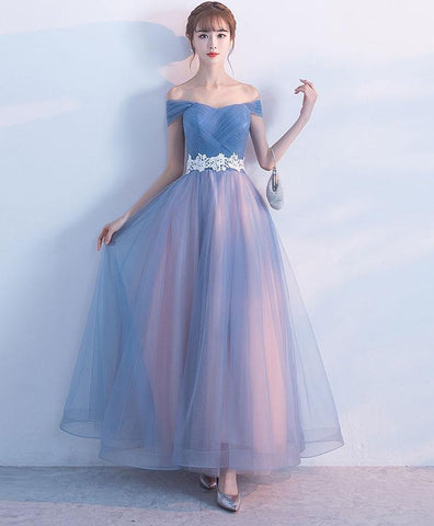 Cute Gray Blue Tulle Long Prom Dress, Simple Tulle Bridesmaid Dress