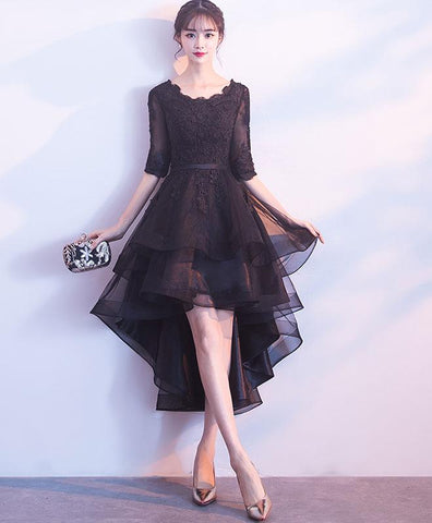 Cute black tulle lace short prom dress, 2018 new coming black bridesmaid dress