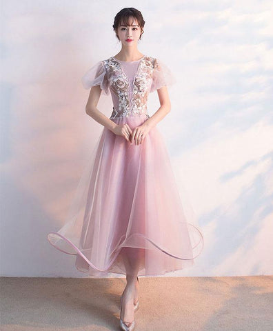 Elegant Pink Tulle Lace Prom Dress, Pink Tulle Evening Dress