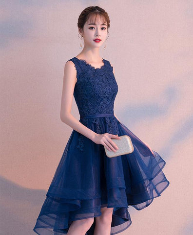 Dark Blue Tulle Lace Prom Dress, Short Prom Dress For Teens, Blue Tulle Lace Bridesmaid Dress