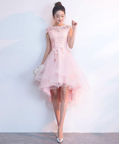 Simple Pink Tulle Lace Short Prom Dress, Pink Tulle Homecoming Dress