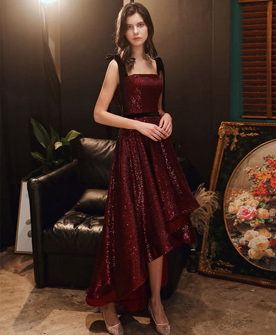 Simple Burgundy sequin high low prom dress burgundy homecoming dress
