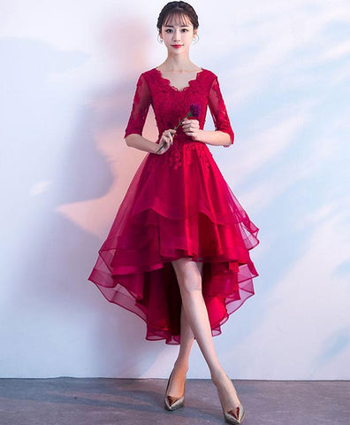 2019 New Coming Burgundy V Neck Tulle Lace Short Prom Dress, Bridesmaid Dress