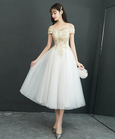 Cute White Tulle Off Shoulder Short Prom Dress, Tulle Homecoming Dress