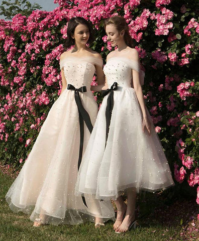 Cute tulle off shoulder prom dress, white tulle bridesmaid dress