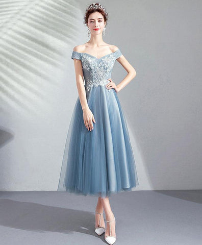 Elegant Blue Tulle Lace Short Prom Dress Blue Lace Bridesmaid Dress