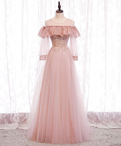 2021 Pink round neck tulle lace long prom dress pink lace evening dress