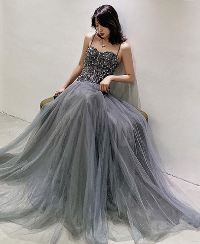 Elegant Gray Tulle Sequin Long Prom Dress Gray Tulle Formal Dress