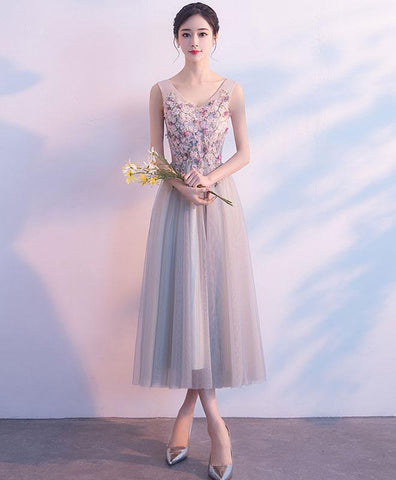 Cute Gray V Neck Tulle Lace Prom Dress, Lace Tulle Evening Dress