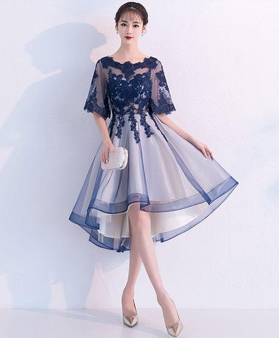 Cute Blue Lace Tulle Short Prom Dress For Teens, Blue Lace Homecoming Dress