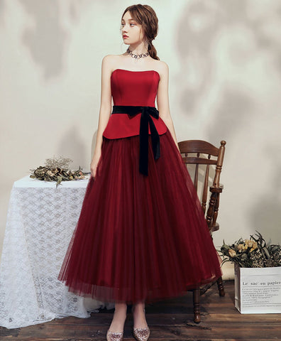 2020 Simple burgundy tulle tea length short prom dress bridesmaid dress