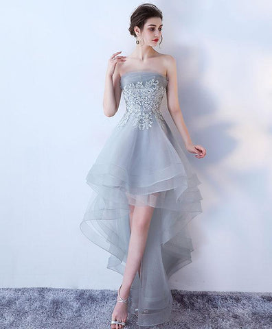 Gray tulle lace high low prom dress, homecoming dress 2019