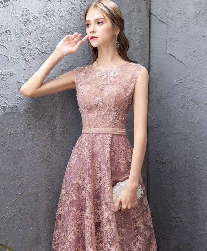 410a1ae98c4 ... 2019 New Coming Pink Round Neck Lace Long Prom Dress