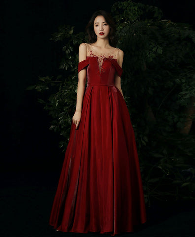 Elegant Burgundy round neck beads long prom dress burgundy evening dress