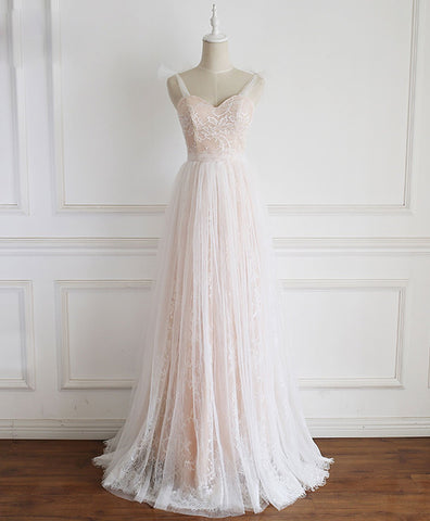 Elegant Champagne Sweetheart Tulle Lace Long Prom Dress Lace Evening Dress