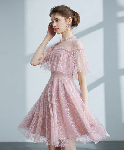 2021 Pink tulle lace short prom dress pink lace cocktail dress