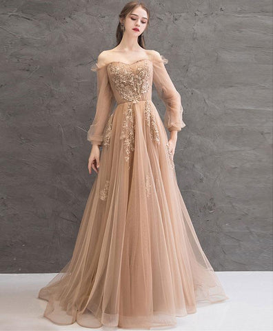 2021 Champagne tulle lace long prom dress champagne tulle evening dress