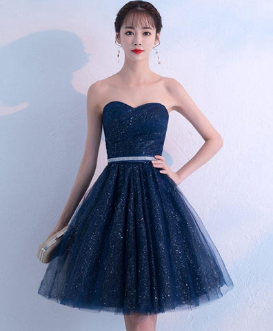 Dark blue sweetheart tulle short prom dress, blue homecoming dress