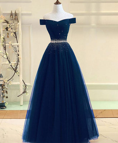 Gorgeous blue tulle prom dress, off shoulder evening gown for prom 2018