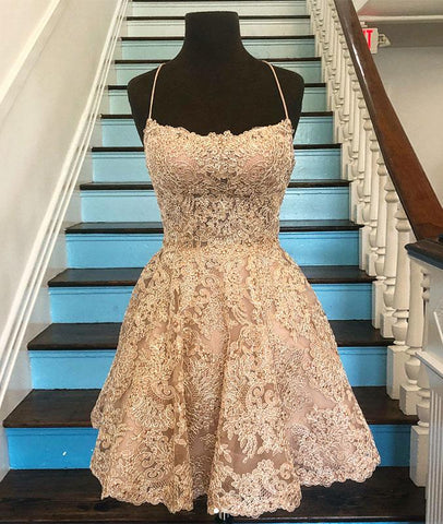 SIMPLE CHAMPAGNE LACE SHORT PROM DRESS, CHAMPAGNE LACE HOMECOMING DRESS