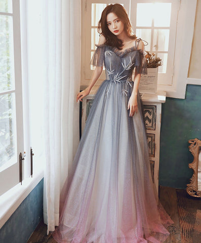 Cute Gray blue tulle sequin long prom dress gray blue formal dress