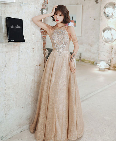Elegant Champagne round neck tulle sequin beads long prom dress