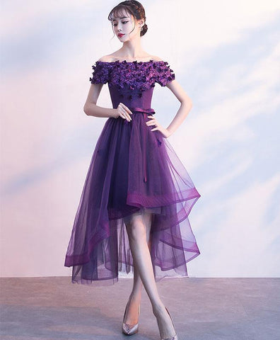 Purpler tulle lace short prom dress, purple evening dress