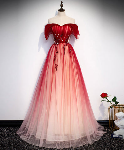 Elegant Burgundy Off Shoulder Tulle Long Prom Dress Burgundy Formal Dress