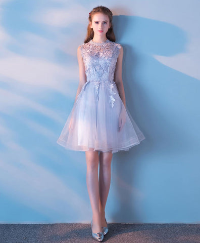 2021Gray tulle lace short prom dress gray lace formal dress