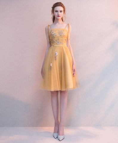 Simple Yellow Tulle Short Prom Dress For Teens, Yellow Homecoming Dress