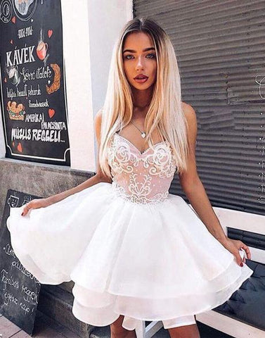 Cute White Tulle Lace Sweetheart Neck Short Prom Dress For Teens, Homecoming Party Dress
