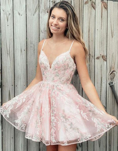 Simple Pink V Neck Tulle Lace Short Prom Dress Pink Homecoming Dress