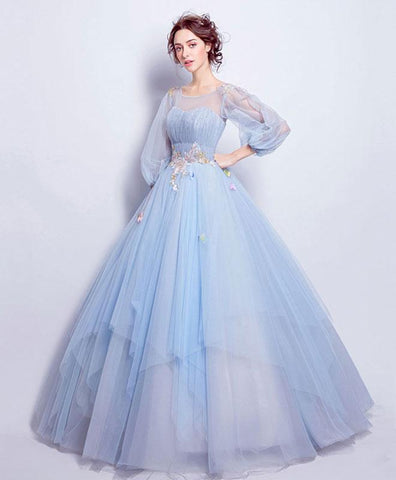 Elegant blue tulle round neck long prom gown, blue evening dress
