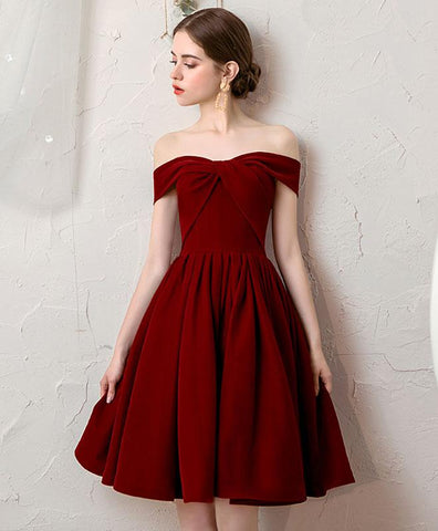 Simple Burgundy Tulle Short Prom Dress Burgundy Bridesmaid Dress