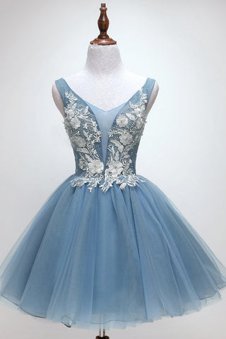 2019 NEW COMING BLUE TULLE LACE SHORT PROM DRESS, BLUE TULLE LACE HOMECOMING DRESS