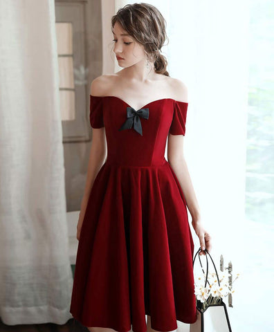 2021 Simple burgundy short prom dress burgundy cocktail dress