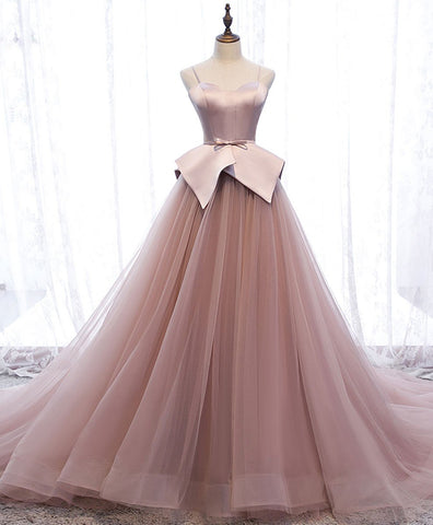 Pink sweetheart tulle long prom gown pink tulle formal dress