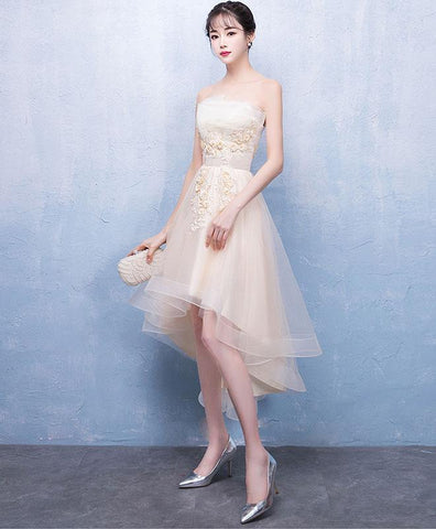 Simple Champagne Tulle Lace Short Prom Dress, Champagne Tulle Homecoming Dress