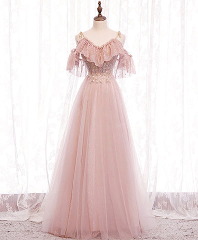 2021 Pink v neck tulle lace long prom dress pink bridesmaid dress