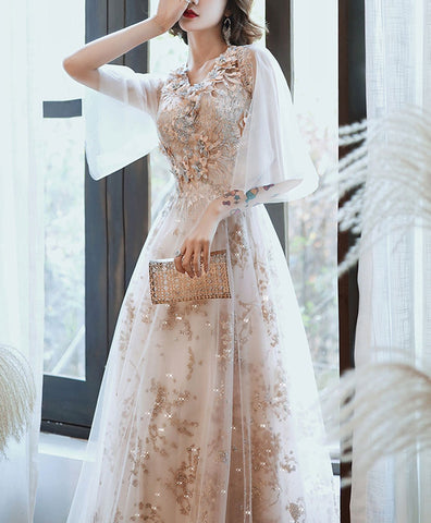 Elegant Champagne v neck tulle lace long prom dress, lace evening dress