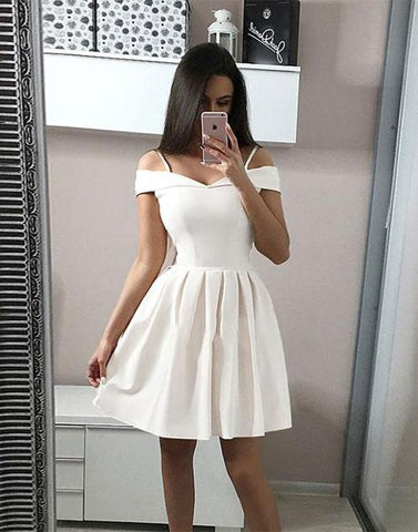 Simple white short prom dress, white homecoming dress