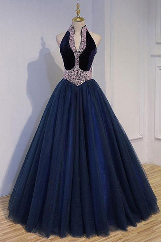 Unique Dark Blue Tulle Beads Long Prom Dress, Dark Blue Evening Dress