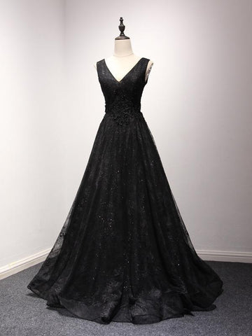 Alluring A-Line V-Neck Black Tulle Sleeveless Lace Long Prom Dresses