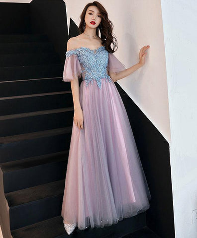 Simple Pink Tulle Lace Long Prom Dress, Pink Tulle Lace Bridesmaid Dress