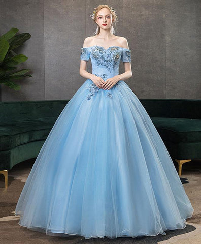 Elegant Blue Off Shoulder Tulle Lace Long Prom Gown Blue Lace Formal Gown
