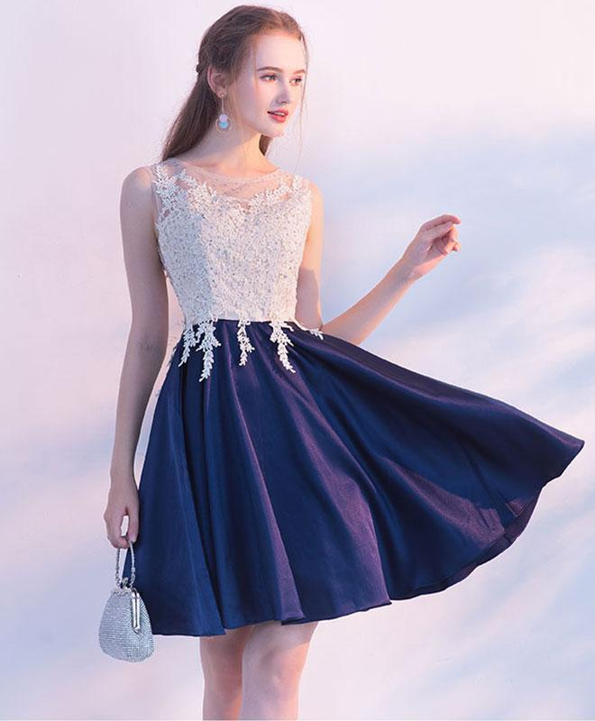 e5ced3d5cf Navy blue round neck lace short prom dress