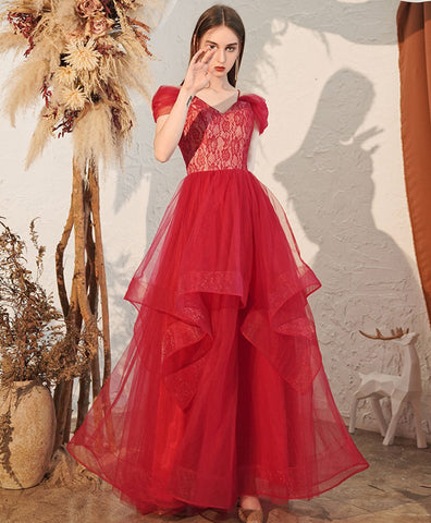 2021 Red v neck tulle off shoulder long prom dress red formal dress
