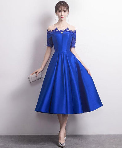 Cute Blue Round Neck Satin Lace Prom Dress, Blue Bridesmaid Dress