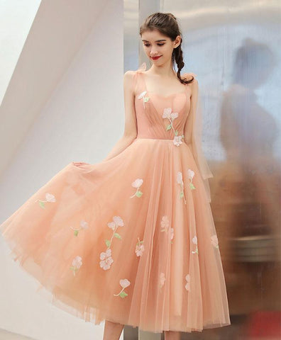 Cute Pink Tulle Lace Applique Short Prom Dress, Pink Homecoming Dress